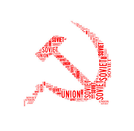 soviet: Hammer and sickle, symbol of Soviet Union, isolated on white