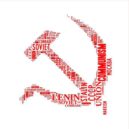 hammer and sickle: Red hammer and sickle word cloud, isolated on white