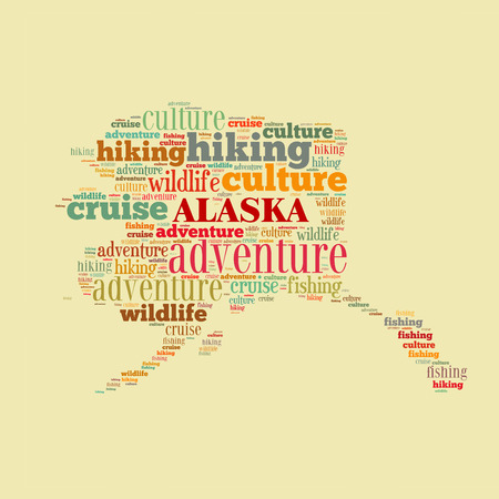Alaska word cloud, computer generated abstract illustration illustration