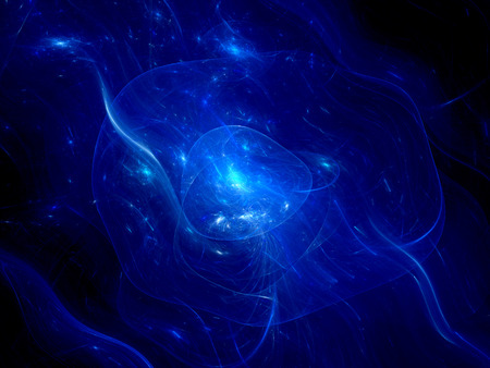 Blue glowing nebula in deep space, computer generated abstract background photo