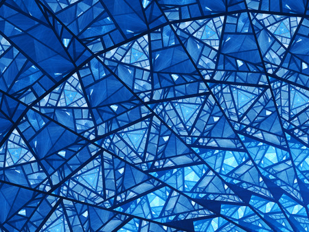 Blue glowing stained glass fractal, computer generated abstract background 写真素材