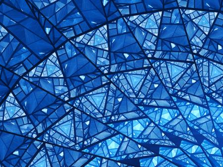golden ratio: Bleu éclatant vitraux fractale, généré par ordinateur abstrait