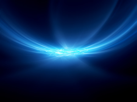 black background abstract: Blue glowing curves in space with processor, computer generated abstract background Stock Photo