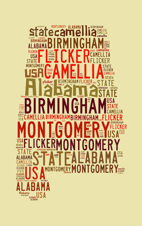 flicker: Alabama state related words on beige, computer generated word cloud Stock Photo