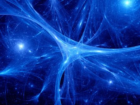 Gloeiende blauwe synapsen in de ruimte, computer gegenereerde abstracte achtergrond