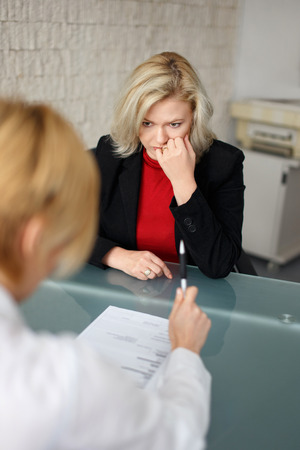 woman work: Dismissal or failed job interview concept Stock Photo