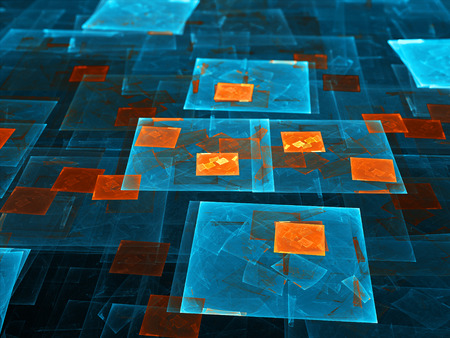artificial intelligence: Blue and orange glowing rectangles, computer generated abstract background