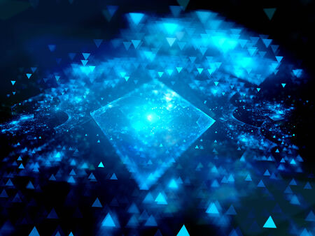 nanotechnology: Blue glowing square with depth of field, technology, computer generated abstract background