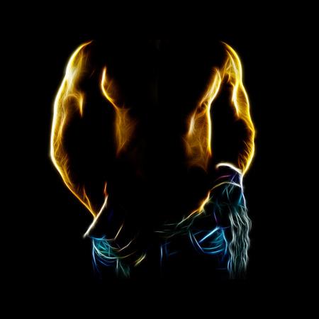 Sexy man lichaam close-up met handschoenen en een ketting