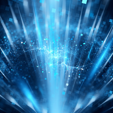 beam of light: Magic blue particles in space, computer generated abstract background Stock Photo