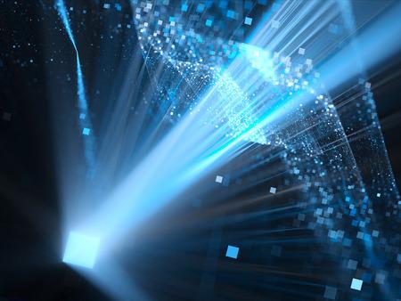 青い次元正方形スペースで輝く、コンピューター生成された抽象的な背景
