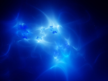 Glowing plasma curves in space, computer generated abstract background