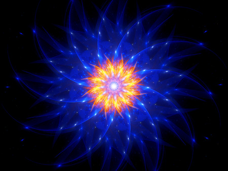 blue spiral: Blue spiral glowing object in space with flame, computer generated abstract background Stock Photo