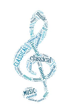 chiave di violino: Classica nuvola parola musica, chiave di violino, isolato su bianco