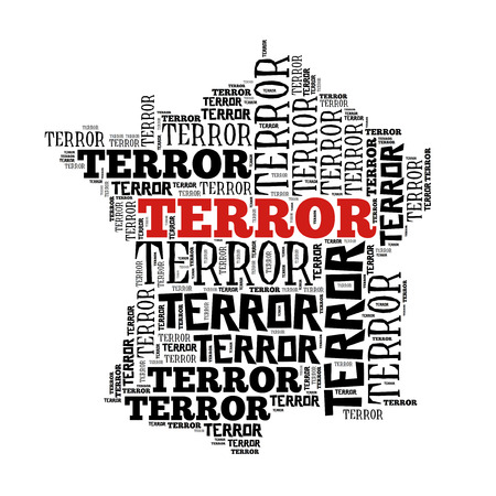massacre: France in terror world cloud, isolated on white Stock Photo