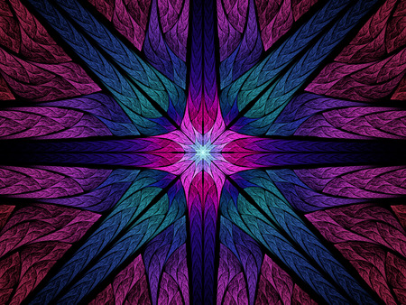 Colorful symmetric  stained glass fractal, computer generated abstract background photo