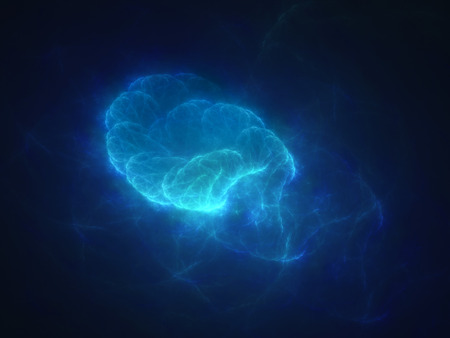 Blue glowing quantum in space, computer generated abstract background photo
