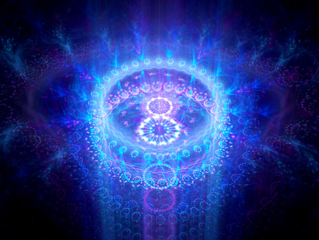 Blue glowing chakra in space, computer generated abstract background photo