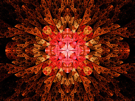 Fiery stained glass fractal, computer generated abstract background photo