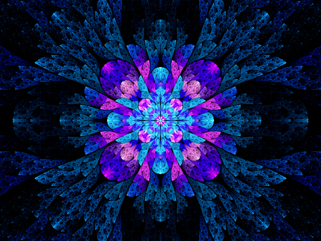 Blue pink multicolored stained glass fractal, computer generated abstract background photo