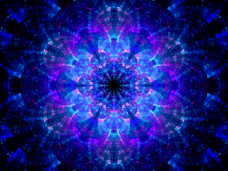 Splitted multicolored kaleidoscope fractal, computer generated abstract background photo