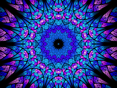 tantric: Oriental kaleidoscope fractal, computer generated abstract background