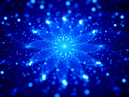 mantra: Blue glowing galactic clock, computer generated abstract background