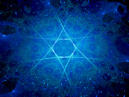 Glowing star shape in space, computer generated abstract background Stock Photo