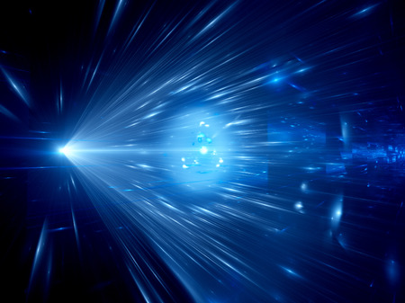 Blue glowing light rays in space, future concept, computer generated abstract background
