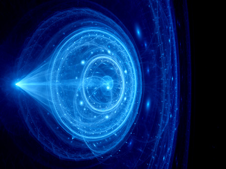 chaos theory: Blue glowing futuristic jump gate in space, computer generated abstract background