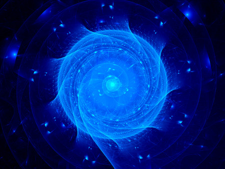 chaos theory: Blue glowing spirals in cyberspace, computer generated abstract background