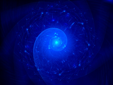 chaos theory: Blue glowing spiral in cosmos, computer generated abstract background