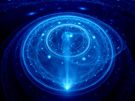 Blue glowing dimensional gate in space, computer generated abstract background photo