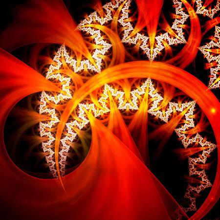 fractal flame: Llama colorida del fractal, generado por ordenador resumen de antecedentes Foto de archivo
