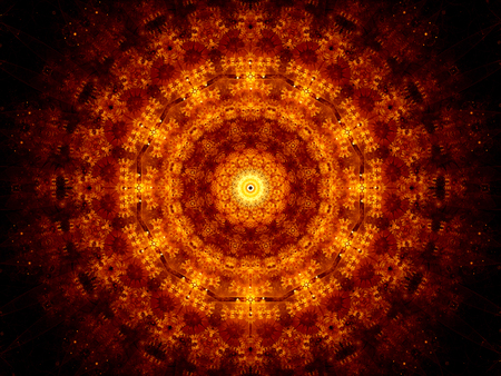 tantra: Glowing fiery oriental ornament, computer generated abstract background