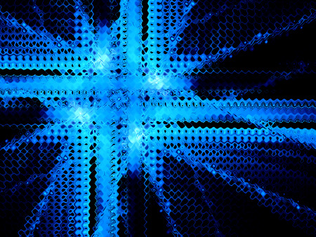 Blue fractal mesh artwork, computer generated abstract background Stock Photo