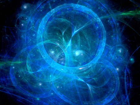 numerical code: Blue glowing circles in space, time machine, computer generated abstract background Stock Photo