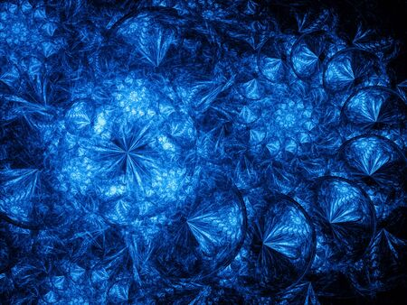 Blue glowing spirals in space, computer generated abstract background Stock Photo