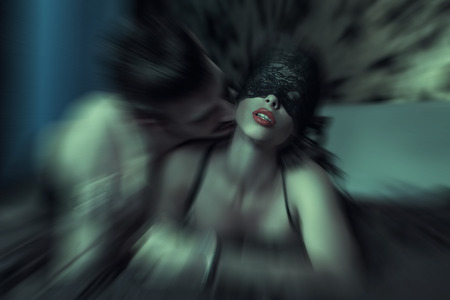 sexy woman naked: Sexy woman at night getting orgasm with lover Stock Photo