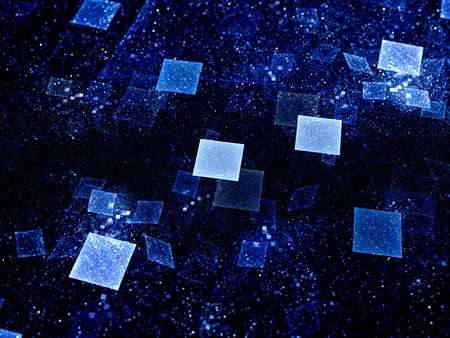 Blue glowing squares in space, new technologies in future, computer generated abstract background Stock Photo