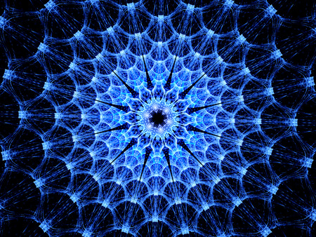health threat: Blue glowing virus shape fractal, computer generated abstract background