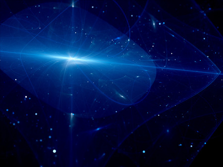 quasar: Blue glowing surface layers in space, computer generated abstract background Stock Photo