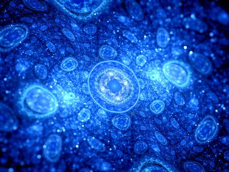 high scale: Blue glowing cells fractal, computer generated abstract background