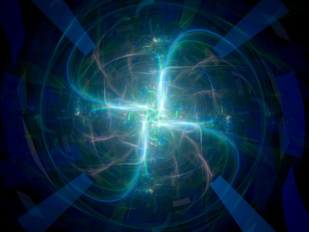 microcosm: Four plasma rays fractal artwork, computer generated abstract background Stock Photo