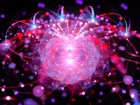 Higgs boson in large hadron collider, computer generated abstract background