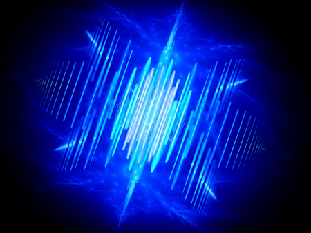 Blue glowing wave shaped signal, computer generated abstract background photo