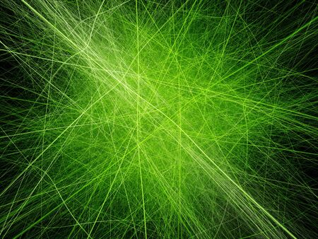 generated: Vibrant neon green lines artwork, computer generated abstract background Stock Photo