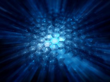 nanotechnology: Glowing hexagonal grid, futuristic nanotechnology, computer generated abstract background Stock Photo