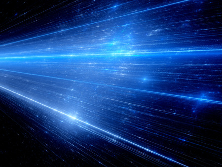Blue glowing lines in space, technology and future, computer generated abstract background