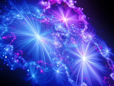 purple stars: Magical shiny glowing stars in space with rays, computer generated abstract fractal background Stock Photo